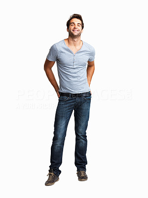 Buy stock photo Man smiling with his hands in his back pockets