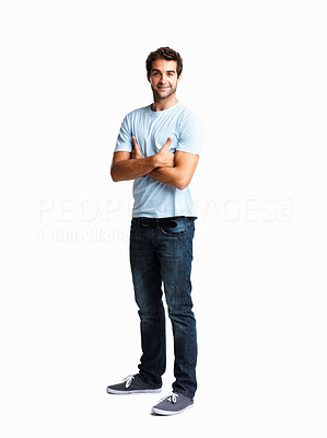 Buy stock photo Handsome man standing with arms folded