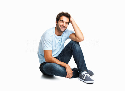Buy stock photo Casually dressed man looking shy