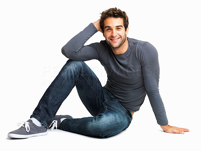 Buy stock photo Happy man smiling while sitting on the floor