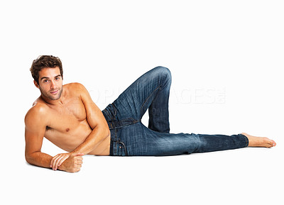 Buy stock photo Shirtless man relaxing in blue jeans isolated on white background