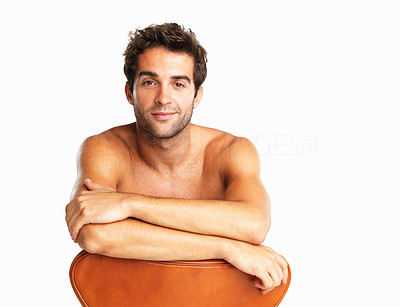Buy stock photo Attractive shirtless man sitting in chair