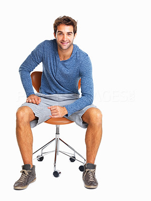 Buy stock photo Handsome man sitting in chair smiling