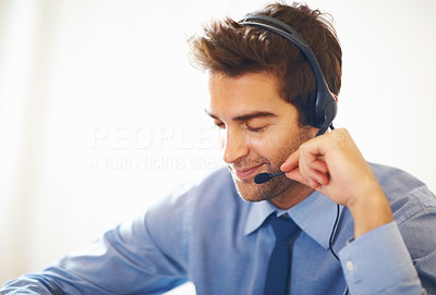 Buy stock photo Closeup portrait of young operator listening to calls
