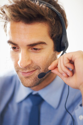 Buy stock photo Closeup portrait of young call center executive working with headset on