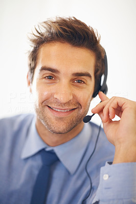 Buy stock photo Portrait of happy young business man with headset