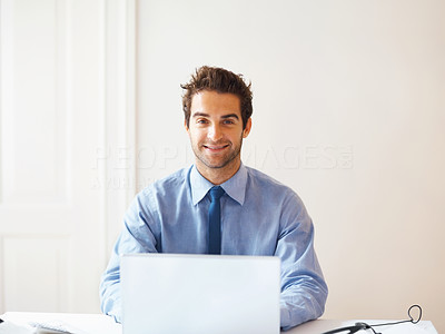 Buy stock photo Portrait of smiling business man with laptop - copyspace