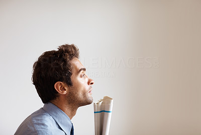 Buy stock photo Side view of executive looking into distance