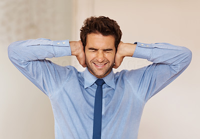 Buy stock photo Businessman standing with hands over ears and eyes shut