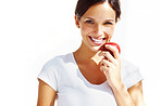 Healthy lifestyle - Young lady eating an apple