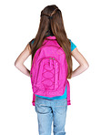 Rear view of a small girl standing with schoolbag