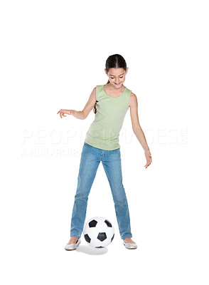 Buy stock photo Portrait of a cute small girl playing with football against white background