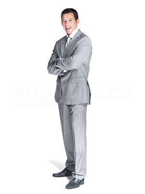 Buy stock photo Full length portrait of a confident young male business executive standing with folded hand over white background