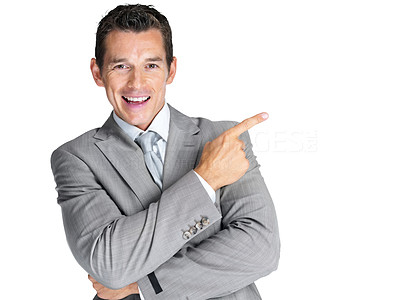 Buy stock photo Portrait of a confident young male entrepreneur pointing at something interesting against white background
