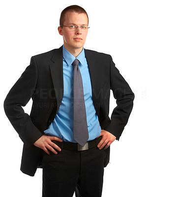 Buy stock photo Businessman full of ideas - A trendy European businessman with a blue tie and shirt