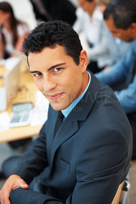 Buy stock photo High angle view of business man with colleagues in background