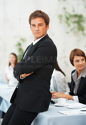 Buy stock photo Portrait of business man with hands folded during meeting
