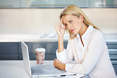 Buy stock photo Portrait of a beautiful mature businesswoman with hand on head at work - Tension
