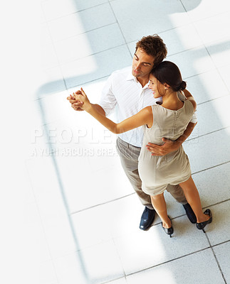 Buy stock photo Top view of beautiful young love couple dancing together