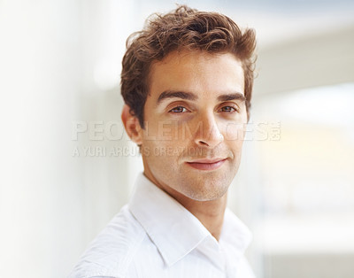 Buy stock photo Portrait of a handsome young guy looking at you with confidence