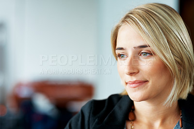 Buy stock photo Portrait of a thoughtful young woman looking away in thought - Copyspace