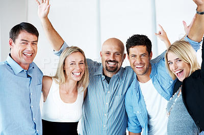 Buy stock photo Team success - Group of business people raising hands in joy