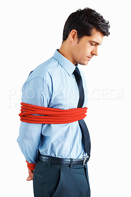 Buy stock photo Side view of executive tied up