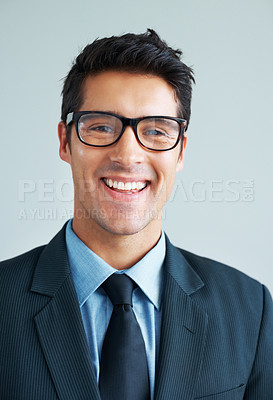 Buy stock photo Business man in suit wearing glasses and smiling on white background