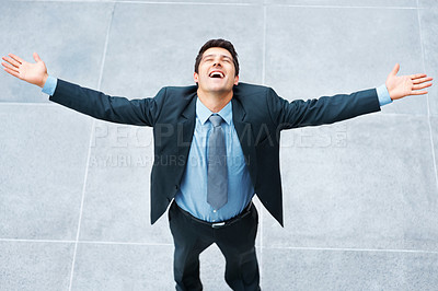 Buy stock photo Executive standing with arms outstretched