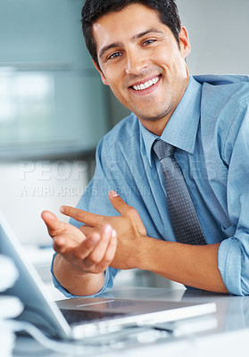 Buy stock photo Executive sitting at laptop and gesturing with hands