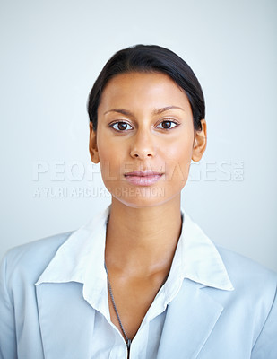 Buy stock photo Portrait of serious business woman