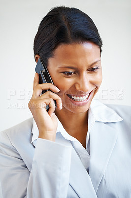 Buy stock photo Business woman on cell phone, looking down