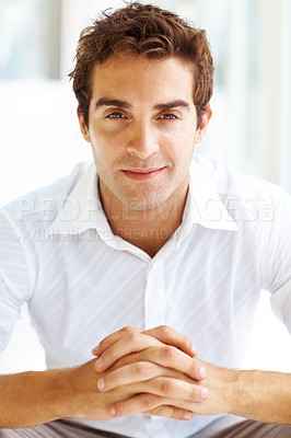 Buy stock photo Portrait of happy young guy looking confident