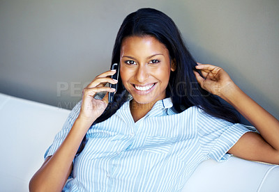 Buy stock photo Closeup of woman on phone call indoors