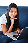 Attractive woman working on laptop