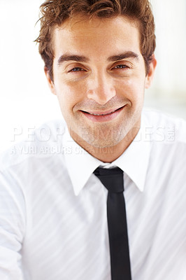 Buy stock photo Portrait of young business man smiling on bright background