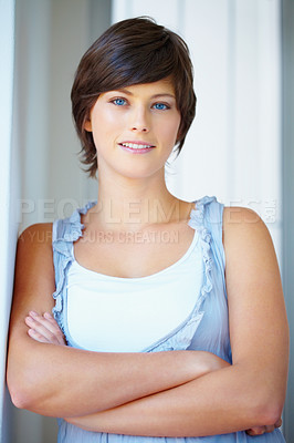 Buy stock photo Closeup portrait of pretty young woman smiling with hands folded