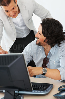 Buy stock photo Two business people enjoying the work at office