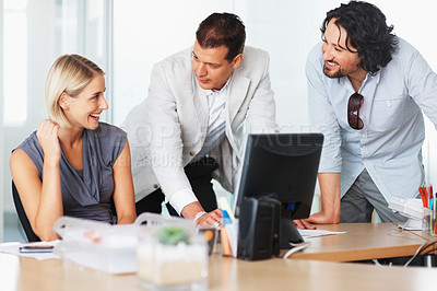 Buy stock photo Business people discussing work at office