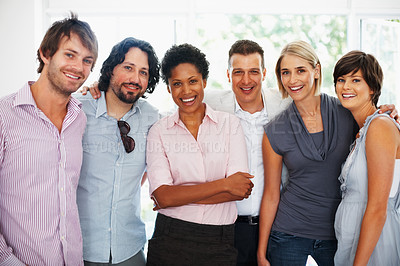 Buy stock photo Portrait of multi ethnic business people standing together