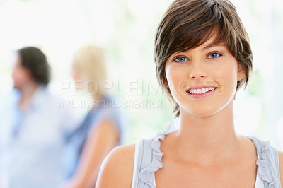 Buy stock photo Closeup of pretty woman with people in background