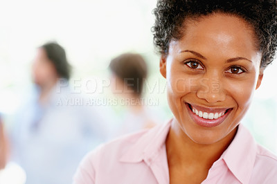 Buy stock photo Closeup of pretty woman with group in background
