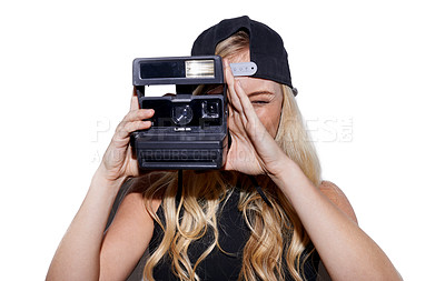 Buy stock photo Shot of an unconventional blonde woman taking a photo with a vintage camera
