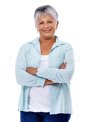 Buy stock photo Studio shot of a mature woman isolated on white