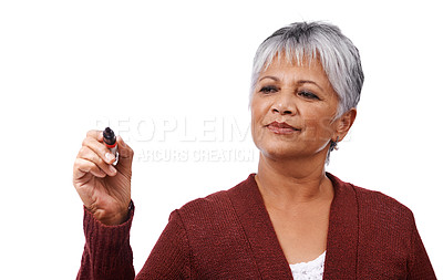 Buy stock photo Studio shot of a mature woman holding a marker isolated on white