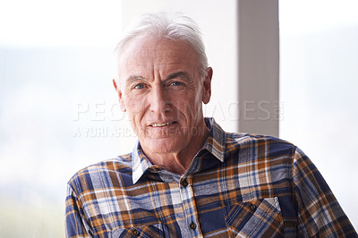 Buy stock photo Portrait of a handsome senior man standing in front of a window on a bright day