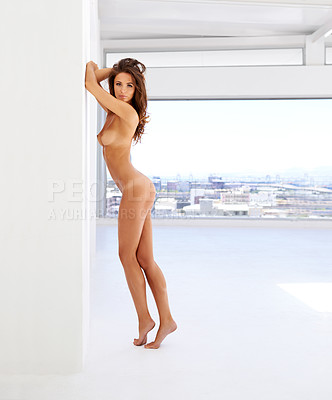 Buy stock photo Full length shot of a gorgeous woman posing nude outdoors at home
