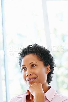 Buy stock photo View of pretty woman looking off into distance