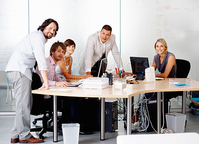 Buy stock photo Portrait of successful business team brainstorming together