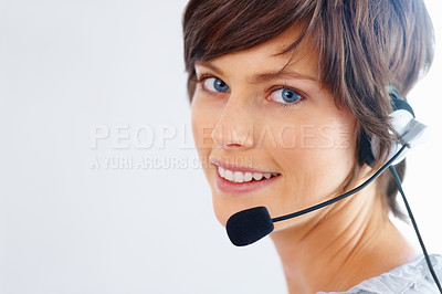 Buy stock photo Closeup of female customer service representative smiling on white background
